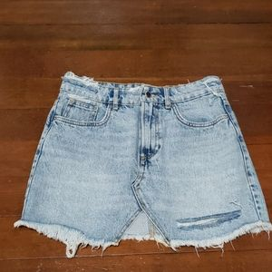 Zara distressed denim skirt